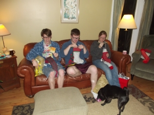 "The Austin ""Children"" opening last year's stockings on Christmas Eve."