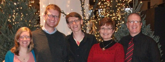 Emily, Jonathan, Benjamin, Anita and Curt Austin at the Christmas Eve Service, Grace Community Church 2012.