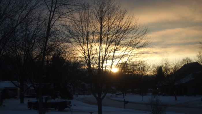 The sun peaks out for a short time on this cold winter day.