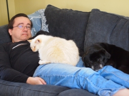 Dave catches a nap with a few of his best friends.