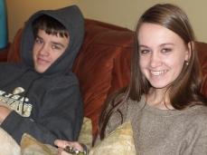 Joshua and Rachel enjoy the game.