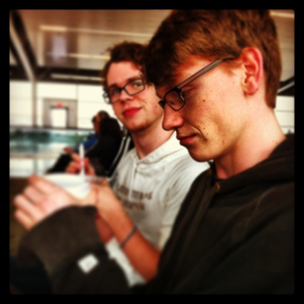 Ben and Elliott waiting for our first leg of the journey.