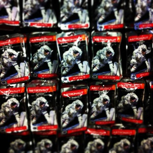 Hundreds of space ice cream packets line the shelves of Space Center, Houston.