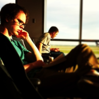 Waiting for the plane from Houston.
