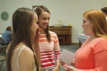 The girls, chatting.