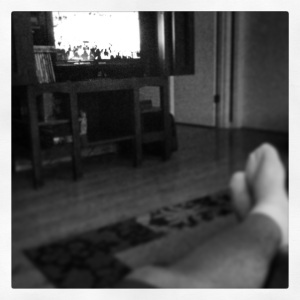 My feet are up and I'm trying to enjoy a rough and tumble game 7.