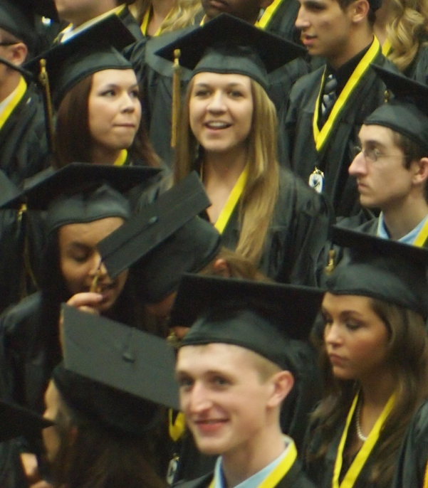Mixed emotions are present on graduation day.